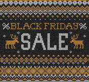 Black Friday Sale: Scandinavian or russian style knitted embroid Royalty Free Stock Photo