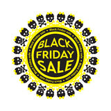 Black Friday Sale scull circle icon. White Royalty Free Stock Images