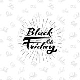 Black Friday sale on seamless background - stickers, badges, has written calligraphy tools and modified to simple forms. Black Friday sale - insignia is made Royalty Free Stock Photos