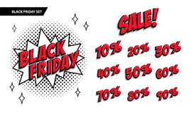 Black Friday sale set. Black friday and sale inscription and all percent numbers. Black and red colors. Pop-art comics. Style web banner, flash animation Royalty Free Stock Photography