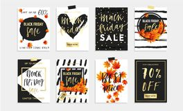 Black Friday Sale Set of 8 cards, banners or posrers. Stock Photo