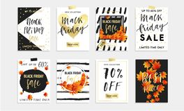 Black Friday Sale Set of 8 cards, banners or posrers. Royalty Free Stock Photography