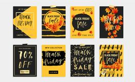 Black Friday Sale Set of 8 cards, banners or posrers. Royalty Free Stock Photo