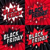 Black Friday sale set. Comic style banners. 4 Black friday inscription on black and red backgrounds. Pop-art comics. Black Friday sale set. Comic style template Stock Images