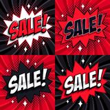 Black Friday sale set. Comic style template banners. 4 Sale inscriptions on black and red backgrounds. Pop-art comics. Style web banners, flash animation Stock Images