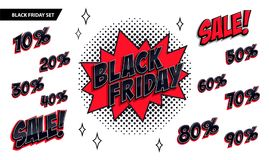 Black Friday sale set. Black friday and sale inscription and all percent numbers. Black and red colors. Pop-art comics. Style web banner, flash animation Stock Photo