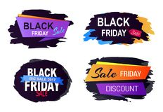 Black Friday Sale 2017 Set on Vector Illustration. Black Friday big sale 2017, set of stickers and labels with different title decoration and ribbons on vector Royalty Free Stock Photography