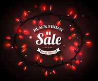 Black Friday Sale shining typographical background. With christmas light bulbs. Vector illustration Royalty Free Stock Photos