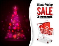 Black Friday Sale shining typographical background. With xmas tree lights, shopping cart and place for text. Vector illustration Royalty Free Stock Photography
