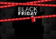 Black friday sale on shopping bag background Stock Image
