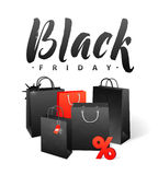 Black Friday Sale Shopping Bag. Promo Abstract Calligraphic Vector Illustration for your business artwork. Royalty Free Stock Image