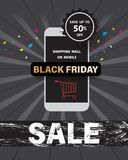 Black friday sale with shopping mall on mobile online. Black friday sale with shopping mall on mobile online at discount up to 50% off,vector illustration Stock Illustration