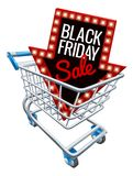 Black Friday Sale Shopping Trolley Sign. A Black Friday sale sign in a supermarket shopping cart trolley stock illustration