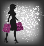 Black Friday Sale Shopping Woman with Bags on Dark Stock Photography