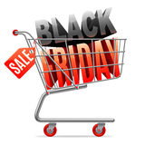 Black Friday Sale shoppingvagn Royaltyfria Foton