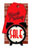 Black Friday Sale Sign with Alarm Clock and Brick Wall. And sales tag shopping logo stock illustration