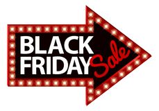Black Friday Sale Sign Arrow. A Black Friday Sale arrow sign with lights Stock Photo