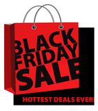 Black Friday Sale Sign with shopping bag. Black Friday Sale Sign with red shopping bag with handles on black background hot deals royalty free illustration