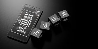 Black Friday sale on a smartphone screen and discount cubes on black background, banner, copy space. 3d illustration. Black Friday sale on a smartphone screen Stock Photography