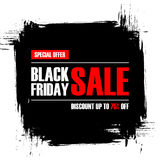 Black Friday Sale. Special offer banner with brush stroke background. Discount up to 75% off. Stock Image