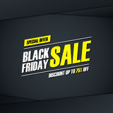 Black Friday Sale. Special offer banner, discount up to 75% off. Banner for business, promotion and advertising. Stock Photos