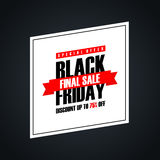 Black Friday Sale. Special offer banner, discount up to 75% off. Final sale ribbon. Banner for business, promotion and advertising. Vector illustration royalty free illustration