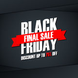 Black Friday Sale. Special offer banner, discount up to 75% off. Final sale ribbon. Stock Photos