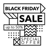 Black Friday Sale and Special offer banner in Trendy Memphis Style Stock Photo