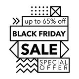 Black Friday Sale and Special offer banner in Trendy Memphis Style Stock Photography