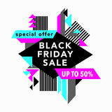 Black Friday Sale and Special offer banner in Trendy Memphis Style Royalty Free Stock Photos