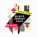 Black Friday Sale and Special offer banner in Trendy Memphis Style Royalty Free Stock Image