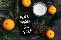 Black friday sale. special offer discount text on mobile phone s Royalty Free Stock Image