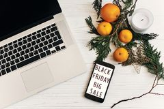 Black friday sale. special offer discount text on mobile phone s Stock Photography