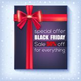 Black Friday Sale. Special offer 50 percent off. Black gift box with red ribbon and bow on snowy background. Decoration. Elements for winter retail, shopping vector illustration