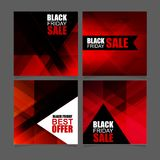 Black Friday Sale square Banners Set. Stylish Red-black polygonal background. Vector illustration vector illustration