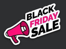 Black Friday sale sticker with megaphone, Black and red colors Stock Images