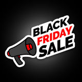 Black Friday sale sticker with megaphone, Black and red colors Stock Photos