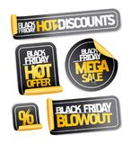 Black friday sale stickers set. Hot discounts, mega sale, hot offer, blowout Royalty Free Stock Images