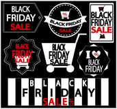 Black Friday. Sale  Stickers Set . Vector Illustration Stock Photos