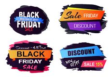 Black Friday Sale Stickers on Vector Illustration. Black Friday big sale, new offer, stickers set with headlines written in creative fonts and frames for them on Royalty Free Stock Photo