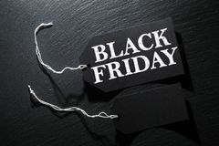 Black Friday Sale tag background. Black Friday Sale tag on dark slate background royalty free stock photography