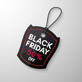 Black Friday sale tag. With the designation of the value of the discount. Discount and price, design label,  emblem, flat style, discount symbols. Vector Stock Photos