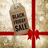 Black Friday sale tag. EPS 10. Black Friday sale realistic tag on Christmas background with snow. EPS 10 vector file included Stock Image