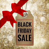 Black Friday sale tag. EPS 10. Black Friday sale realistic tag on Christmas background with snow. EPS 10 vector file included Stock Photo