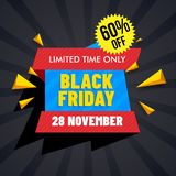 Black Friday Sale tag or ribbon with 60% discount offer and geom. Etric abstract elements on rays background vector illustration