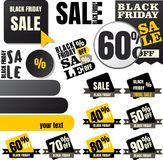 Black friday sale tags Royalty Free Stock Images