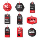 Black Friday Sale Tags Collection Isolated On White Background Logos Design Stock Image
