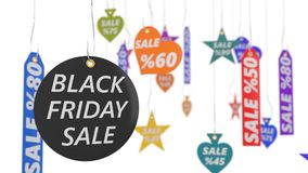 Black friday sale tags. 3d illustration. Royalty Free Stock Photo