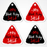 Black Friday Sale tags with numbers of discount percentage. Grungy triangular stickers. Hand drawn letters. Vector illustration Royalty Free Stock Photo