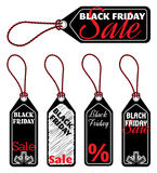 Black Friday sale tags. Black Friday price tags, vector set of five isolated sale tags Stock Photos